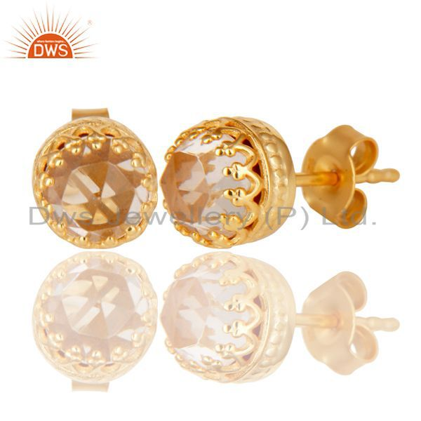 Exporter 14K Yellow Gold Plated 925 Sterling Silver Crystal Quartz Stud Earrings Jewelry