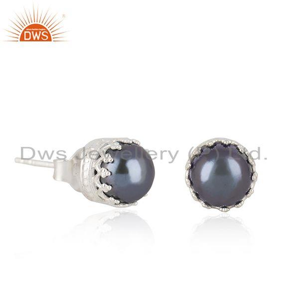 Exporter Crown Design Fine 925 Silver Gray Pearl Stud Earring Manufacturer