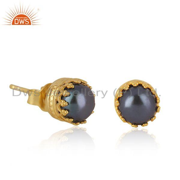 Exporter Gray Pearl Gemstone Crown Design Gold Plated 925 Silver Stud Earring Wholesale