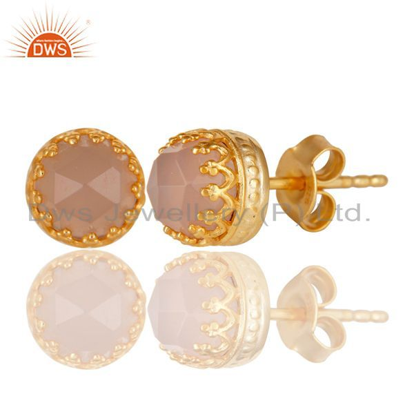 Exporter 14K Yellow Gold Plated 925 Sterling Silver Dyed Rose Chalcedony Studs Earrings