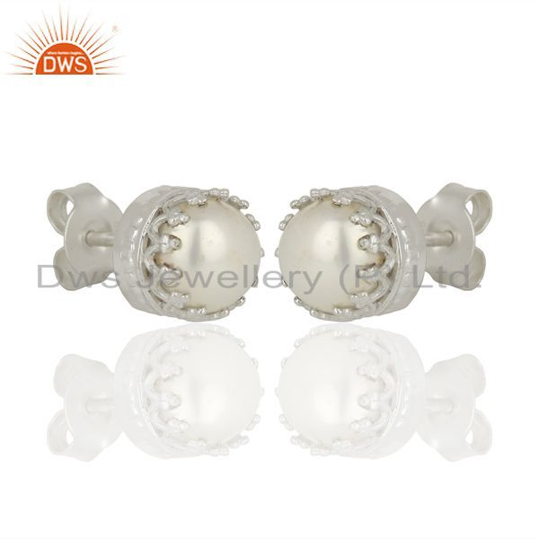 Exporter Pearl Studs 925 Sterling Silver Prong Set Earrings Gemstone Jewelry