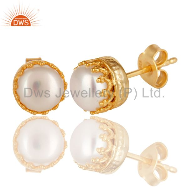 Exporter 14K Yellow Gold Plated 925 Sterling Silver Handmade Pearl Beads Studs Earrings