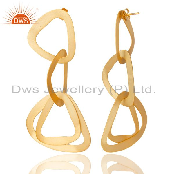 Exporter 14K Yellow Gold Plated 925 Sterling Silver Handmade Fashionable Dangle Earrings