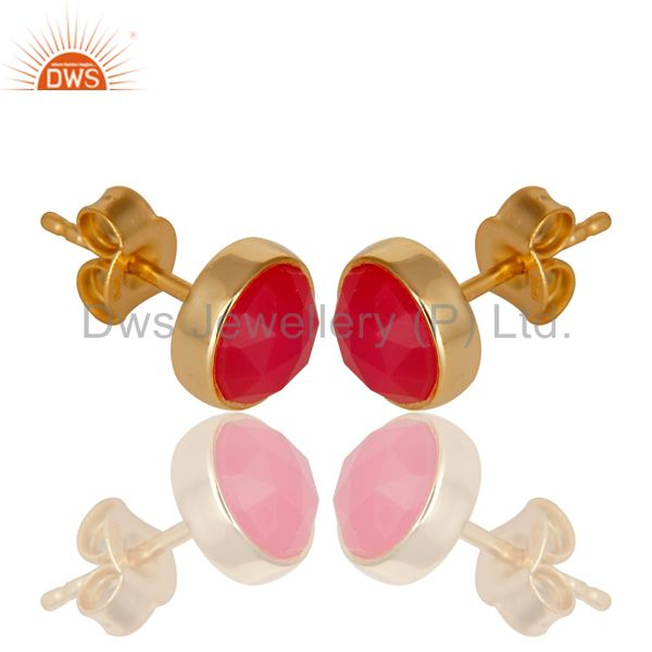 Exporter 14K Yellow Gold Plated 925 Sterling Silver Dyed Pink Chalcedony Studs Earrings