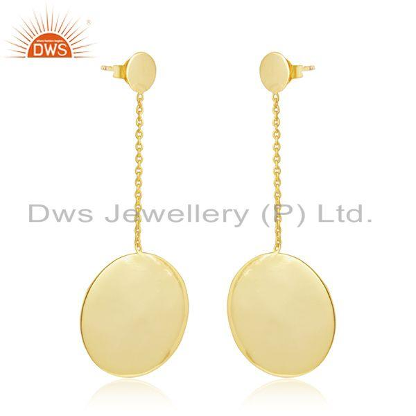 Round disc design gold plated plain silver chain drop earrings