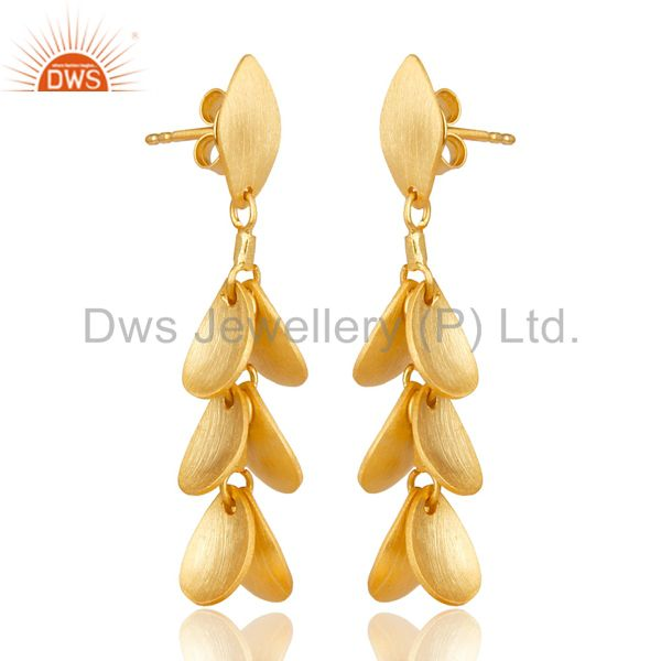 Exporter 14K Yellow Gold Plated 925 Sterling Silver Handmade Leaf Design Dangle Earrings