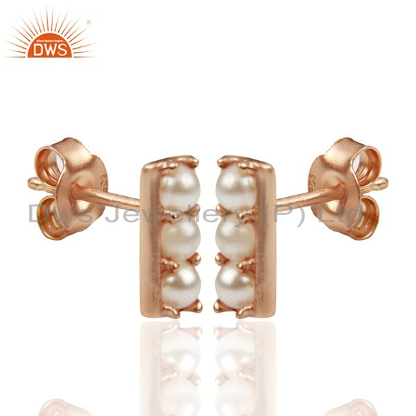 Exporter Pearl studded Handmade Rose Gold Plated Tiny Stud Wholesale Jewelry