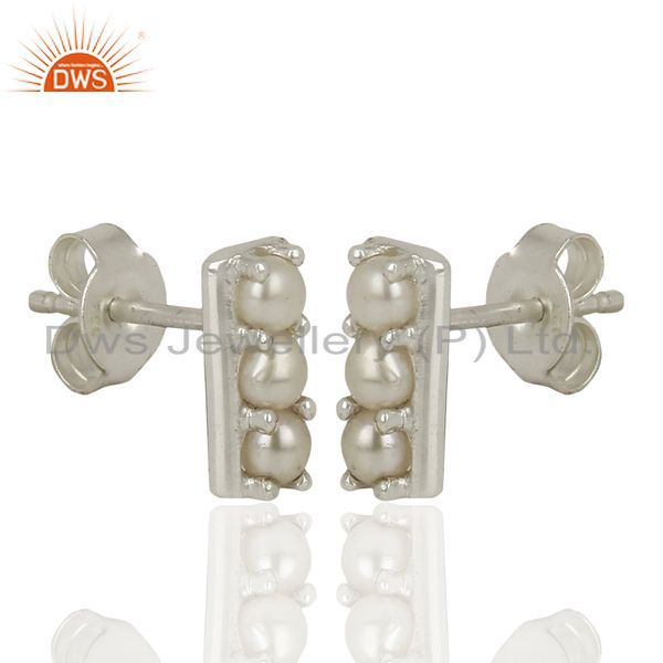 Exporter Pearl Studs 925 Sterling Silver Prong Set Mini Earrings Jewelry