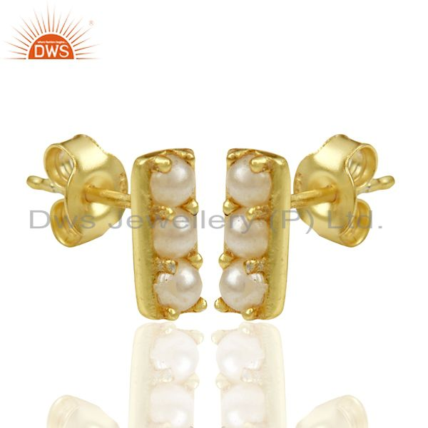 Exporter Pearl studded Handmade 14 K Gold Plated Tiny Stud Wholesale Jewelry