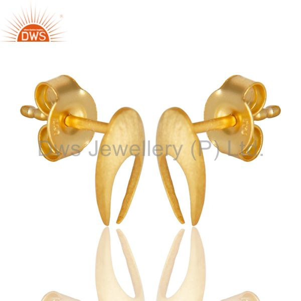 Exporter 14K Gold Plated 925 Sterling Silver Handmade Horse Shoe Design Studs Earrings