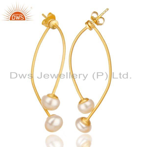 Exporter 14K Gold Plated 925 Sterling Silver Handmade Double Way Jacket Pearl Earrings