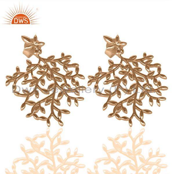 Supplier of Olive Leaf Drop Rose Gold Plated 92.5 Sterling Silver Earring
