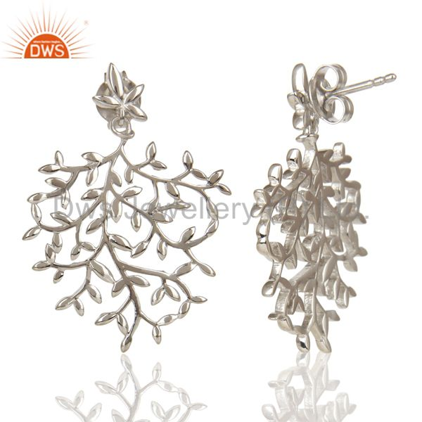 Exporter Olive Leaf Drop White Rhodium Plated 92.5 Sterling Silver Earring
