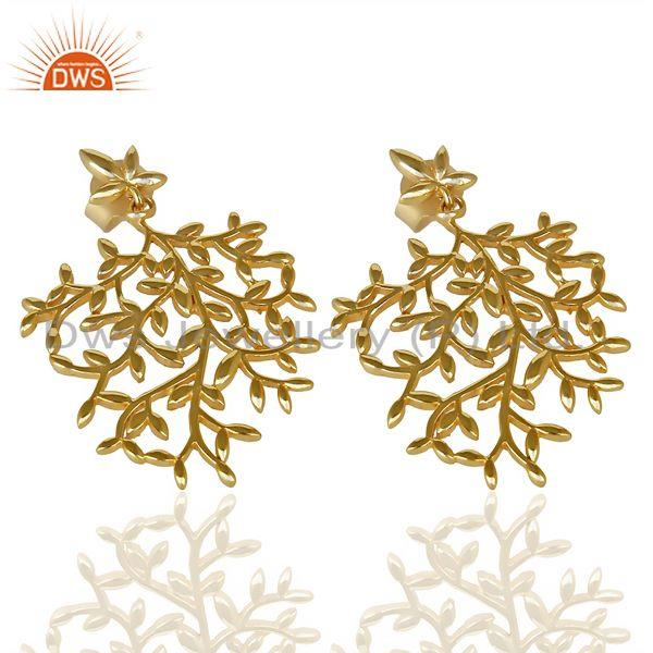 Wholesale Olive Leaf Drop 14K Gold Plated 92.5 Sterling Silver Earring