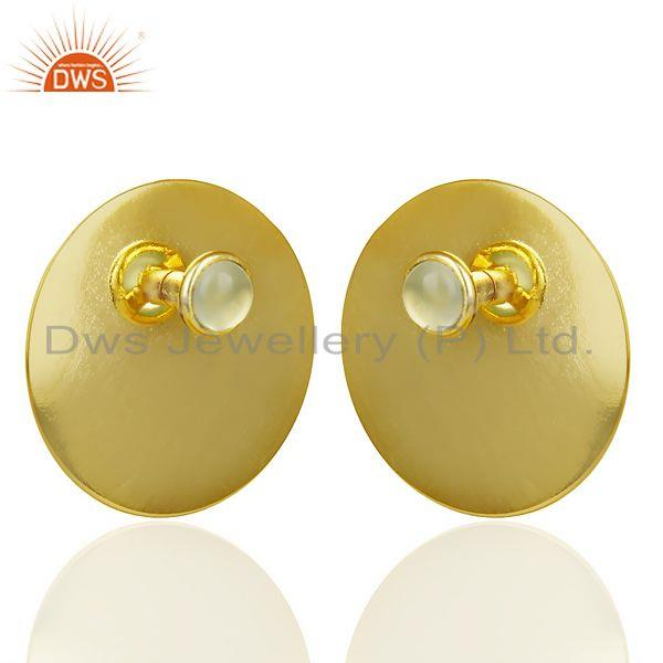 Exporter 14K Gold Plated 925 Sterling Silver Round Design Aqua Chalcedony Studs Earrings