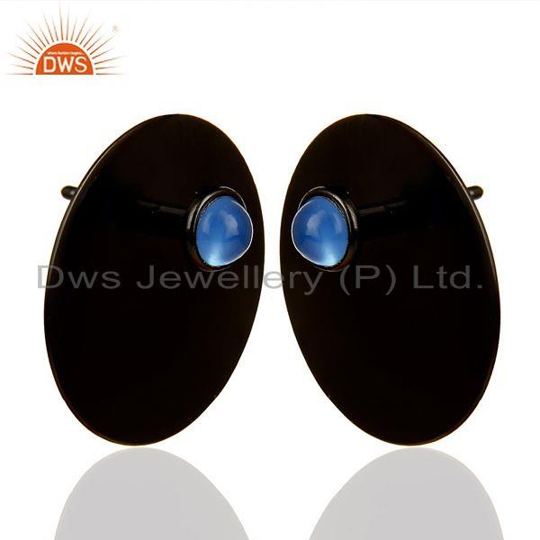 Exporter Black Oxidized 925 Silver Round Design Dyed Blue Chalcedony Studs Earrings