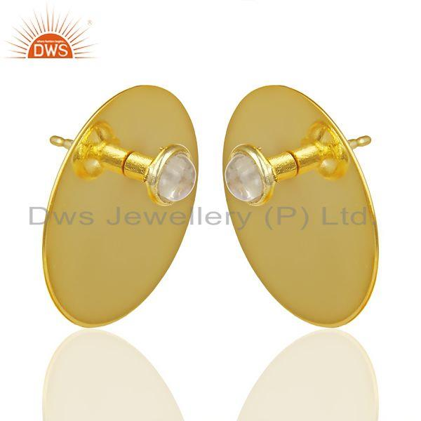 Exporter 14K Gold Plated 925 Silver Round Design Rainbow Moonstone Studs Earrings