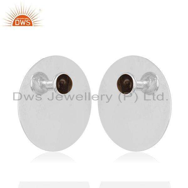 Exporter Smoky Quartz Gemstone Round 925 Silver Girls Stud Earrings Wholesale Suppliers