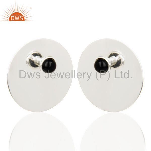 Exporter Traditional Handmade 925 Silver Round Design Black Onyx Studs Earrings