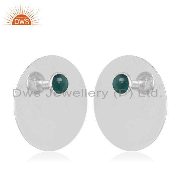 Exporter Green Onyx Gemstone Stud Earrings Manufacturer of 925 Sterling Silver Jewelry