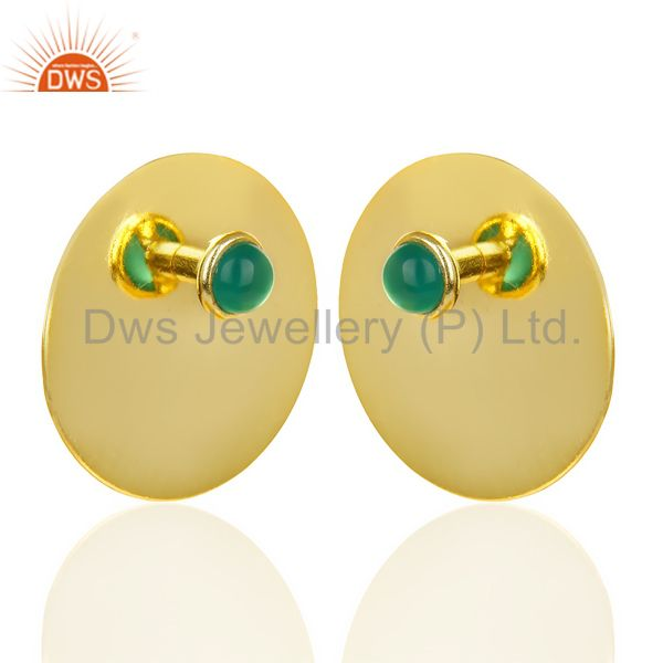 Exporter 14K Gold Plated 925 Sterling Silver Round Design Green Onyx Studs Earrings
