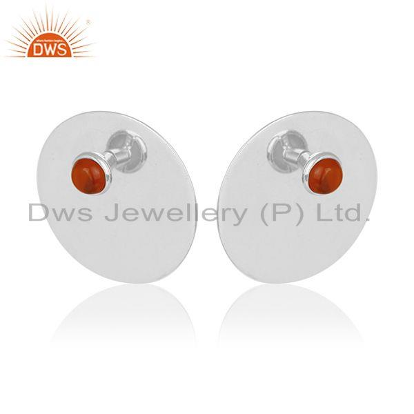 Exporter Genuine 92.5 Sterling Silver Big Round Stud Gemstone Earring Wholesale