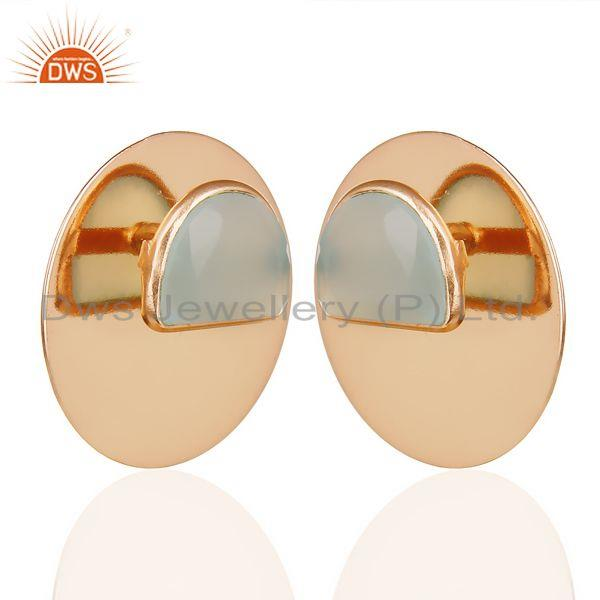 Exporter 14K Rose Gold Plated 925 Silver Round Design Dyed Aqua Chalcedony Stud Earrings