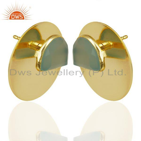 Exporter 14K Gold Plated 925 Silver Round Design Dyed Aqua Chalcedony Studs Earrings