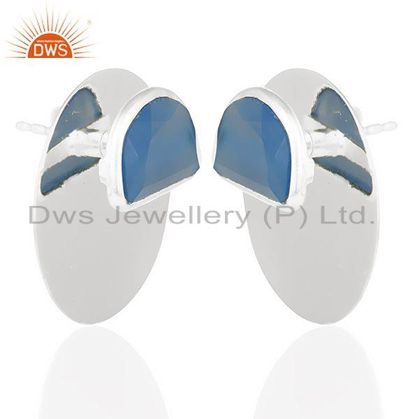 Exporter Blue Chalcedony Gemstone Stud Solid 925 Sterling Silver Earrings Jewelry