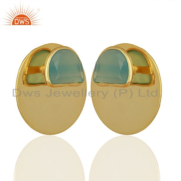 Exporter Gold Plated 925 Sterling Silver Blue Chalcedony Gemstone Stud Earrings