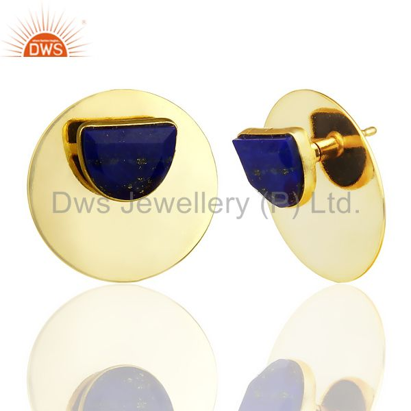 Exporter 14K Gold Plated 925 Sterling Silver Round Design Lapis Lazuli Studs Earrings