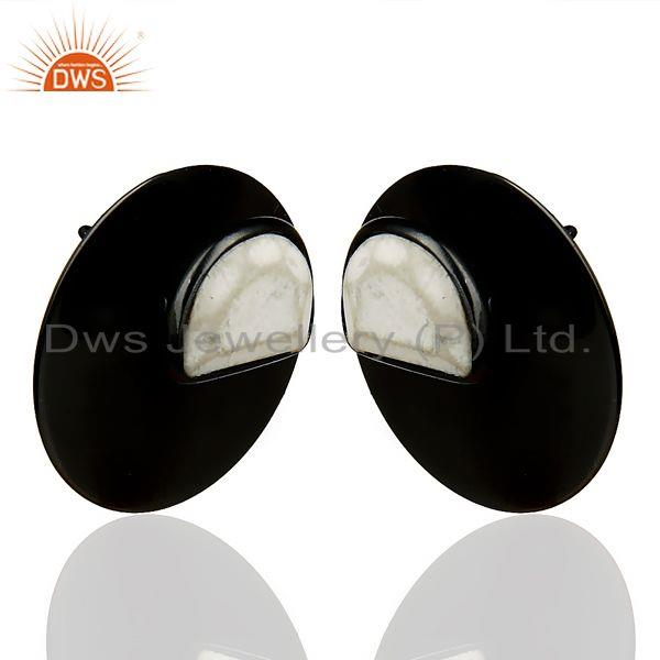 Exporter Black Oxidized 925 Sterling Silver Round Design White Howlite Studs Earrings