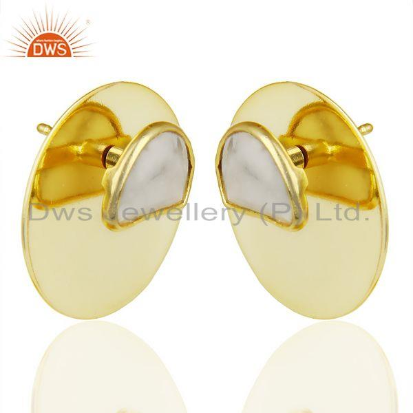 Exporter 14K Gold Plated 925 Sterling Silver Round Design White Howlite Studs Earrings