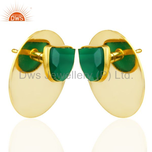 Exporter 14K Gold Plated 925 Silver Handmade Round Design Green Onyx Studs Earrings