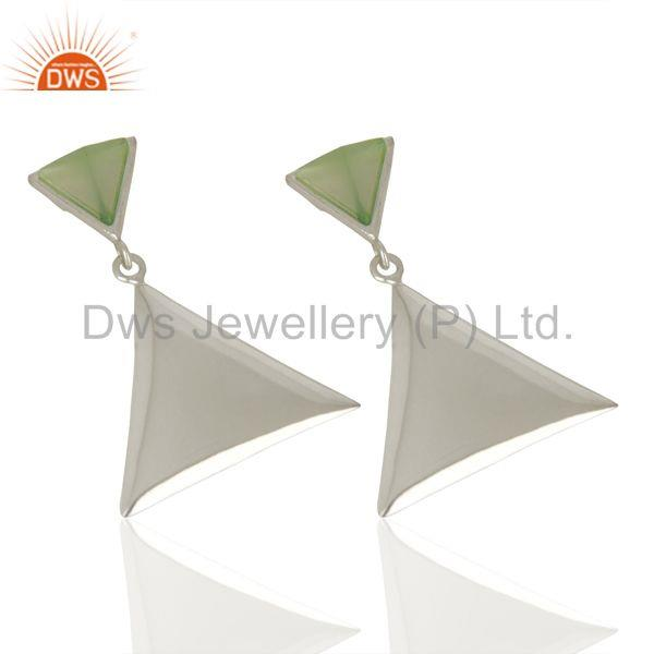 Exporter Aqua Chalcedony Pyramid Triangle Sterling Silver Wholesale Drops Earrings