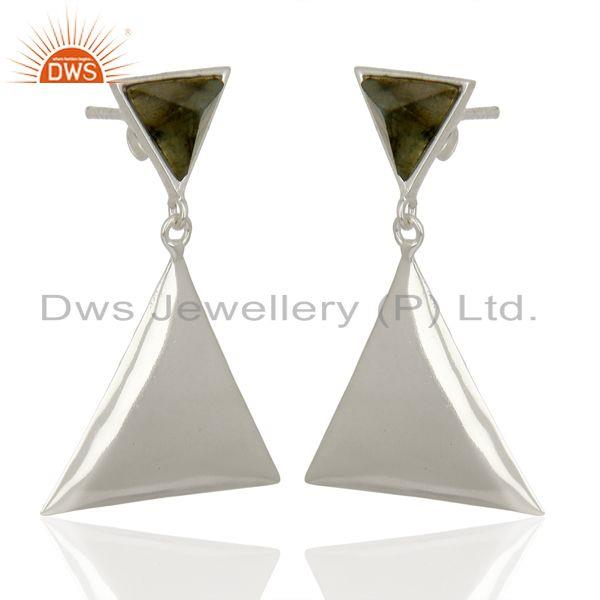 Exporter Labradorite Pyramid Triangle Sterling Silver Wholesale Drops Earrings