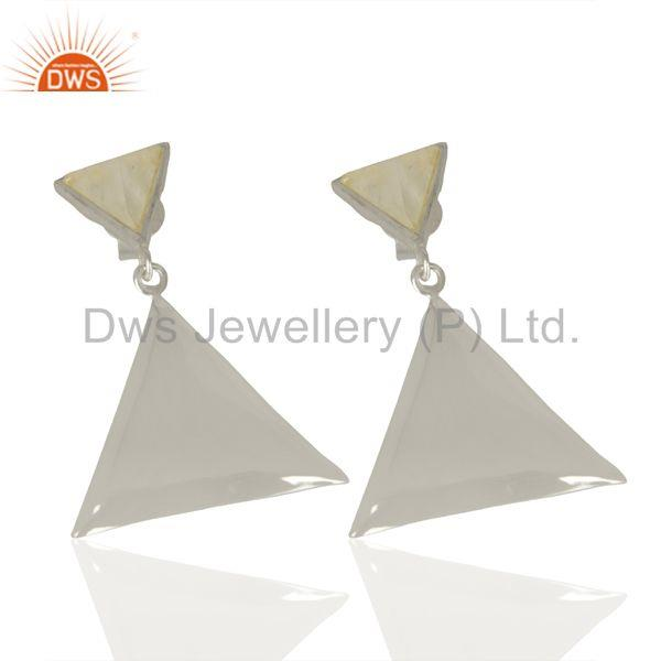 Exporter Rainbow Moon Stone Pyramid Triangle Sterling Silver Wholesale Drops Earrings