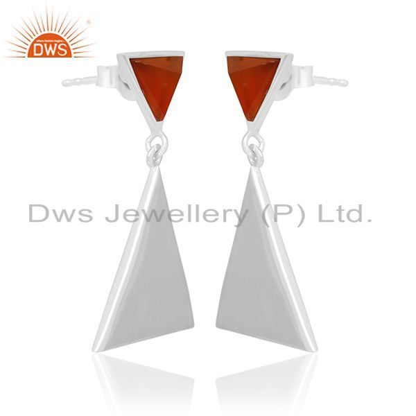 Exporter Carnlian Gemstone 92.5 Silver Custom Triangle Earrings Manufacturer from India