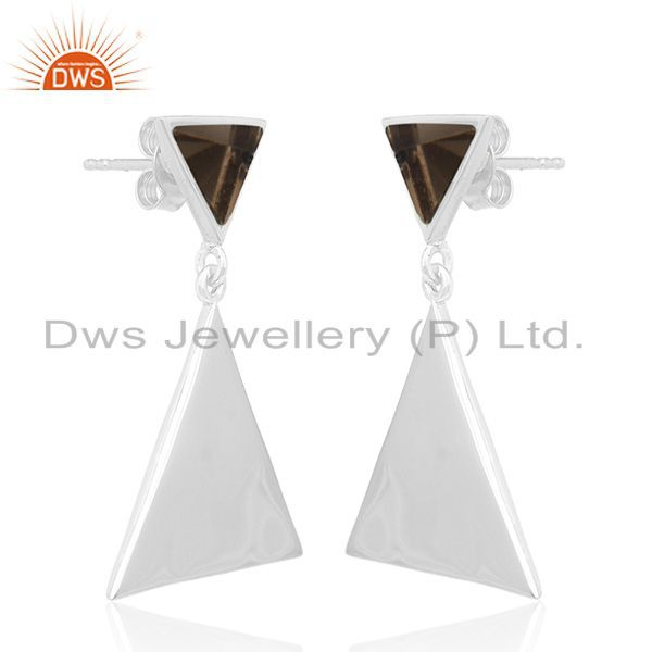 Exporter Triangle Design 925 Silver Smoky Quartz Gemstone Earrings Manufacturer India
