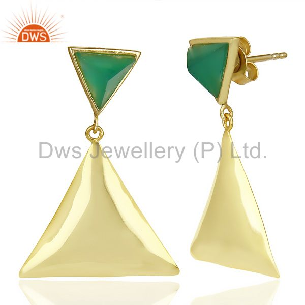 Exporter 14K Gold Plated 925 Silver Handmade Pyramid Design Green Onyx Drops Earrings