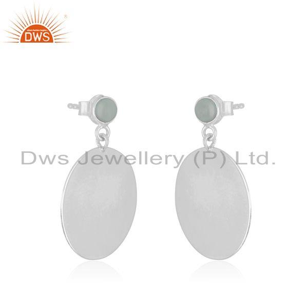 Exporter Handmade 925 Sterling SIlver Aqua Chalcedony Gemstone Earrings Manufacturer