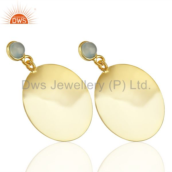 Exporter 14K Gold Plated 925 Sterling Silver Handmade Dyed Chalcedony Drops Earrings