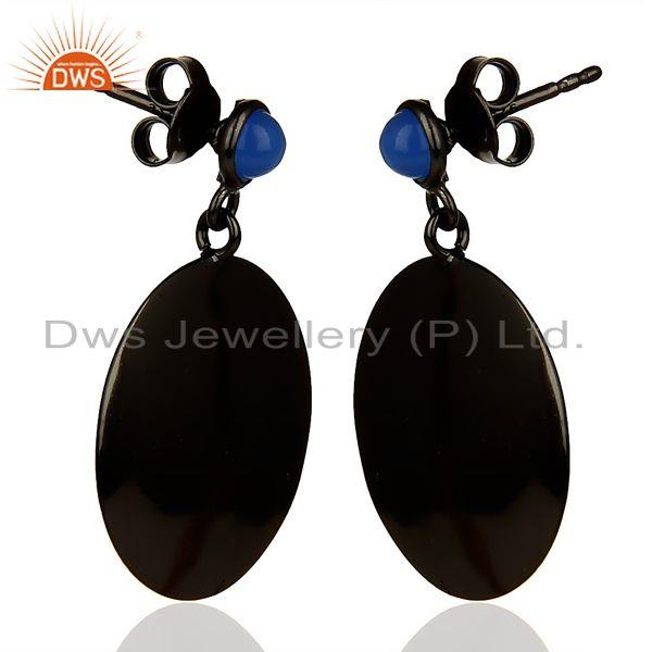 Exporter Oxidized 925 Sterling Silver Handmade Pyramid Design Dyed Chalcedony Earrings