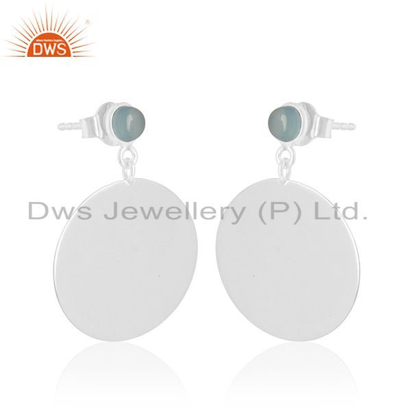 Exporter Handmade 925 Silver Blue Chalcedony Gemstone Earrings Wholesale Suppliers