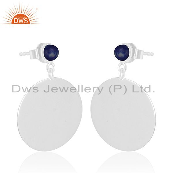 Exporter Lapis Lazuli Gemstone Sterling Silver Handmade Earrings Jewelry Wholesale Jaipur