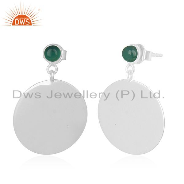 Exporter Green Onyx Gemstone Plain Sterling 925 Silver Earring Manufacturer India
