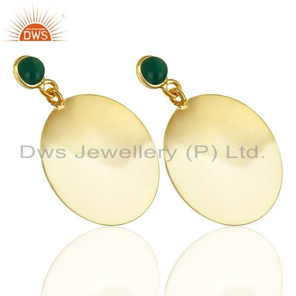 Exporter 14K Yellow Gold Plated 925 Sterling Silver Handmade Green Onyx Dangle Earrings