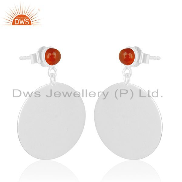 Exporter Handmade 925 Silver White Rhodium Plated Red Onyx Gemstone Earrings Jewelry