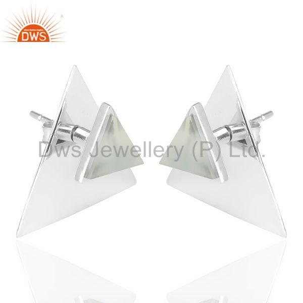 Exporter Aqua Chalcedony Two Way Stud Triangle White Rhodium 92.5 Sterling Silver Earring