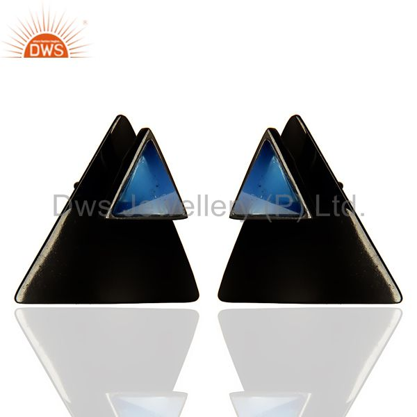 Exporter Black Oxidized 925 Sterling Silver Handmade Dyed Blue Chalcedony Studs Earrings